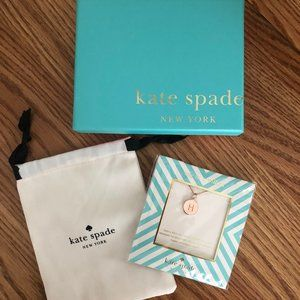 "Kate Spade Rose Gold Initial Pendant Necklace ""H"""